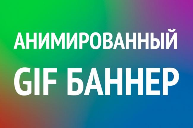 Gif-анимированный баннер для сайта и соц. сетейБаннеры и иконки<br>По вашему желанию сделаю один дизайн рекламного gif-баннерa (анимация) для сайта или соц. сетей, один размер. Дополнительный размер - выбирайте пункт ресайз.<br>
