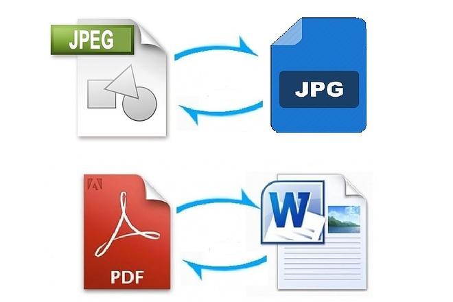 Конвертирование файлов в форматы jpg, png, PDF, doc, docx 1 - kwork.ru