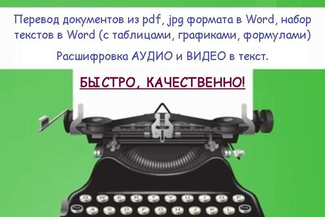 Напечатаю текст, переведу в текст аудио- видеозаписиНабор текста<br>1 час видео/аудиозаписи; 12000 знаков отсканированного или рукописного текста. Быстроту, четкость, пунктуальность и конфиденциальность гарантирую.<br>