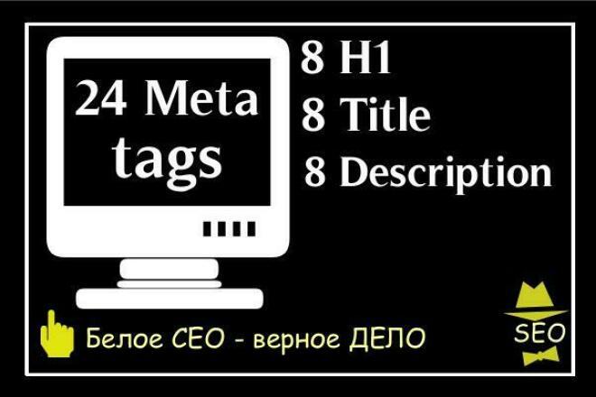 Сделаю 24 мета тега 8 Description, 8 Title, 8 заголовков Н1 1 - kwork.ru