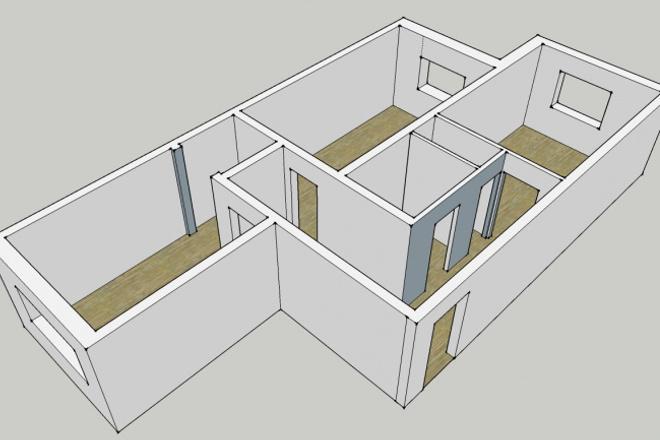 Нарисую 3D модель квартиры 1 - kwork.ru