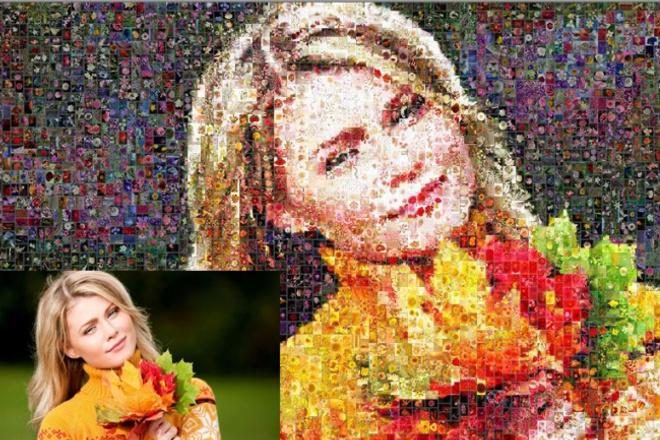 Фотомозайка из цветовОбработка изображений<br>Составлю качественную фотомозайку Ваших фото из 3000 фотографий цветов. Фотомозаика — это картина из сотен небольших фото размером от 1 до 3 см. Издалека они выглядят как одно изображение, а вблизи — как отдельные фото.<br>