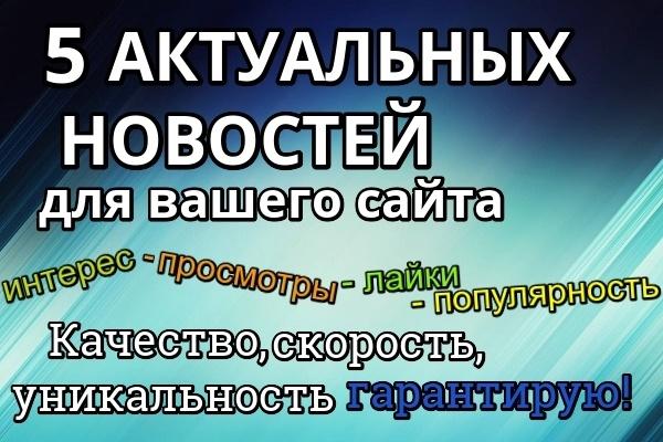 5 актуальных новостей для Вашего сайта - различные тематики 1 - kwork.ru