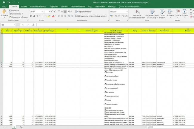 Парсинг данных с Юлы, объявления + аналитика 1 - kwork.ru