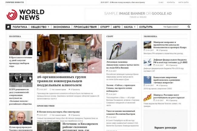 Автонаполняемый новостной сайт - World News - на WordPress 21 - kwork.ru