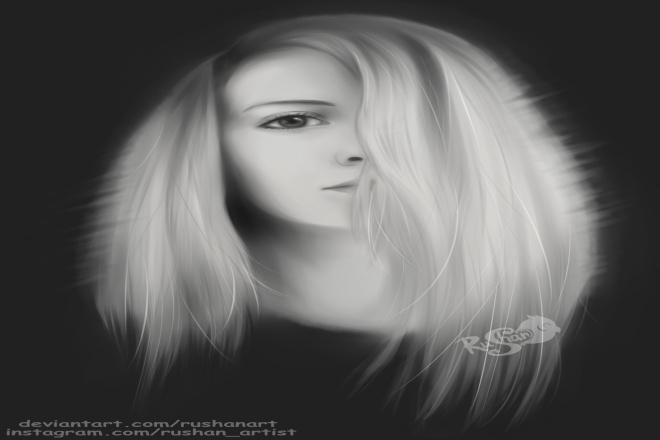 Нарисую цифровой реал портрет по вашему фото, черно-белый 1 - kwork.ru