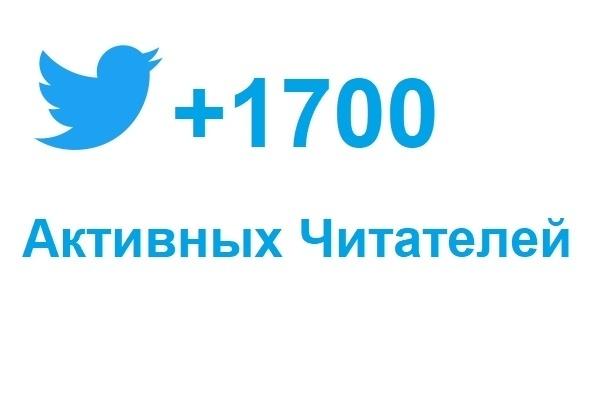 1700 подписчиков в ваш аккаунт TwitterПродвижение в социальных сетях<br>Добавлю в Twitter 1700 читателей со всего мира! Всего за 3 суток. Процент отписавшихся до 5%. Подписчики — реальные люди, все с аватарками. Будут заходить к Вам на профиль и подписываться. За счет этого поднимется рейтинг профиля, и он поднимется в результатах поисковых запросов. От этого увеличится приток целевых подписчиков естественным образом. Заказывайте!<br>