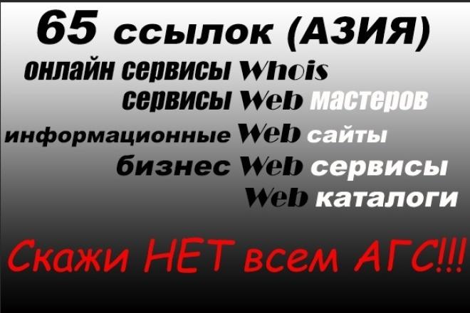 65 ссылок с онлайн сервисов для WEB мастеров - азия. Общий ТИЦ > 1000 1 - kwork.ru