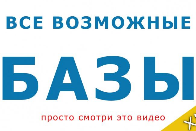 Все возможные базыИнформационные базы<br>Уникальный комплект баз практически под все нужды. Данные для баз взяты из открытых источников Рунета, находящихся в свободном доступе.<br>