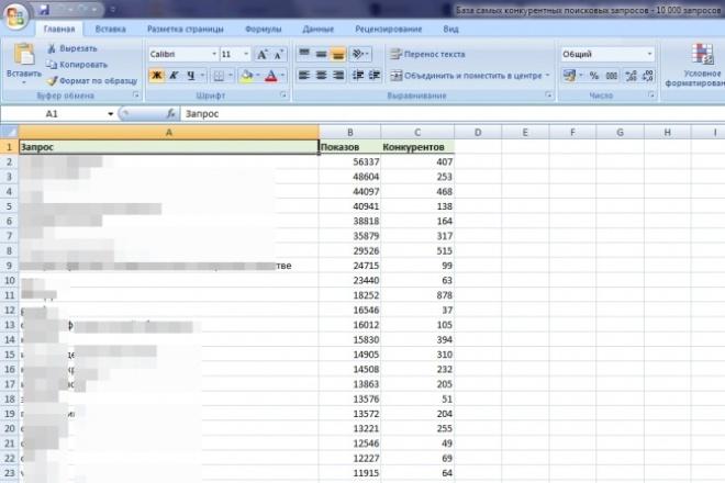 База самых популярных конкурентных поисковых запросовКомплексное продвижение<br>В базе содержится 10000 самых популярных конкурентных поисковых запросов, самых разных направлений. База прекрасно подойдет для работы как над молодыми так и для бородатых и пузатых сайтов. Покупая базу Вы получаете документ в формате xlsx в которой собраны 10000 популярных поисковых запросов.<br>