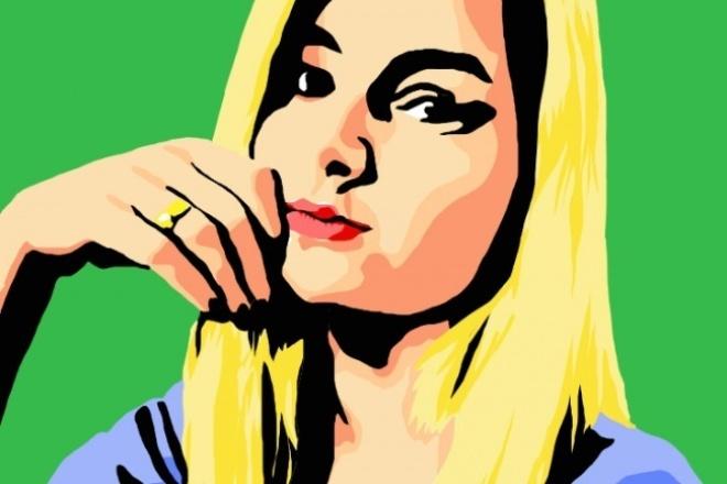 Нарисую ваш портрет в стиле поп-артИллюстрации и рисунки<br>Портрет по фотографии это отличный подарок на День Рождения, юбилей, свадьбу или Новый Год. Поп-арт выглядит стильно и привлекает внимание. Следует так же отметить,что: -цифровой портрет не будет выцветать со временем; -не будет осыпаться или трескаться краска,стираться; -цифровую копию очень просто отправить друзьям или родственникам живущим далеко от Вас и картинка не потеряет свое качество и цвет,что случается при фотографировании или сканировании портрета на бумаге;. - при желании цифровой портрет можно распечатать на холсте или бумаге, не тратя время деньги и нервы на пересылку и доставку.<br>