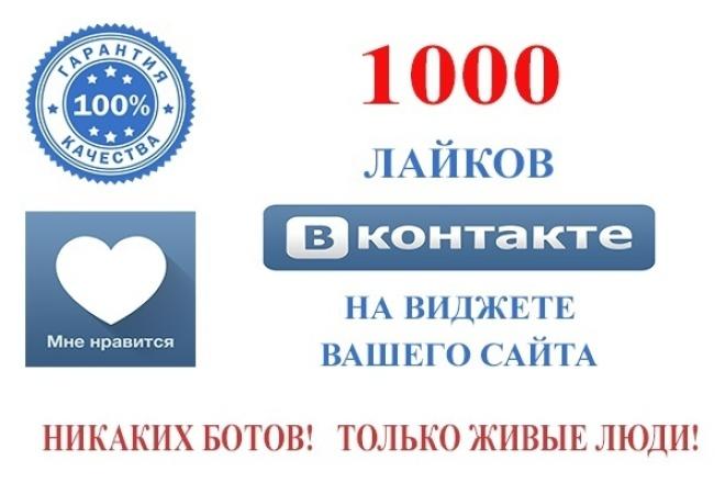"""1000 лайков через кнопки """"Лайк"""" Вконтакте на Вашем сайте 1 - kwork.ru"""