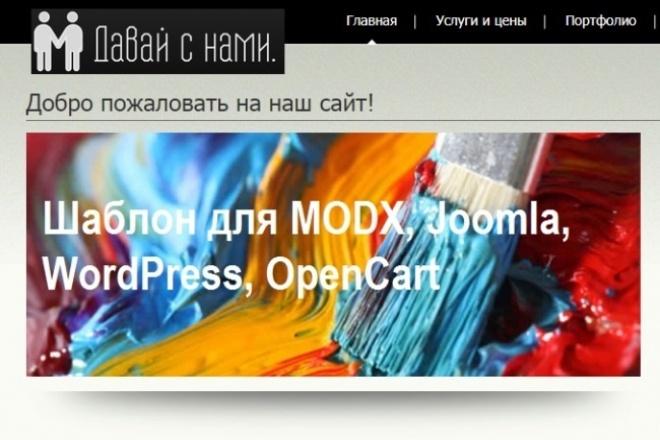 Создание CMS-шаблона из HTML-шаблонаДоработка сайтов<br>Базовый кворк включает работы по переносу до трех страниц HTML-верстки в страницы шаблона движков MODX, Joomla, WordPress, OpenCart.<br>