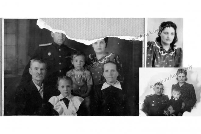 Восстановлю фотографии, сделаю ретушь старых фотографийОбработка изображений<br>Восстановлю дорогие вам фото. Удалю царапины, изломы, пятна, печати. Восстановлю порванные фото...<br>