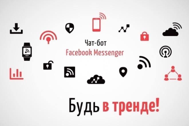 Создам чат-бот Facebook MessengerПродвижение в социальных сетях<br>Что умеет бот: Выводит текст, фото или галереи (товары, услуги и т. д. ) Собирает ответы пользователя Рассылает сообщения всем подписчикам бота Имеет админ. панель (при желании сможете сами вносить правки) Осуществляет звонок из мессенджера Мои работы: http://goo.gl/c1fuhW - бот-консультант http://goo.gl/dvFfvf – визитка разработчика чат-ботов Боты на других платформах: ВК http://goo.gl/KRKxSb - пример бота-визитки ВКонтакте Telegram http://goo.gl/qjKb2B - визитка компании http://goo.gl/CQFFDR – бот-опросник, бриф на разработку чат-ботов В стоимость одного кворка входит: - разработка и размещение бота на нашем хостинге - заполнение 5 карточек галереи или 5 пунктов меню - 5 страничек с коротким текстом или ссылкой, 1 фото - переадресация между страничками - один месяц обслуживания, все необходимые правки, осуществление рассылок. Дальнейшее обслуживание оплачивается отдельно Дополнительные функции заказываются отдельно. Внимание! Не принимаю заказы на ботов, связанных с финансовыми махинациями и противоправными действиями.<br>