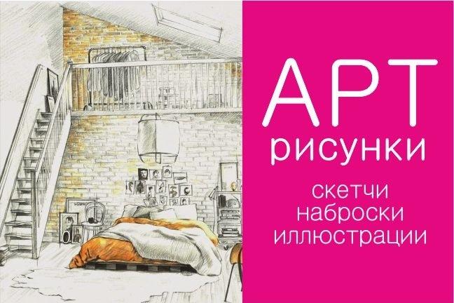Интерьерные скетчи акварелью 1 - kwork.ru
