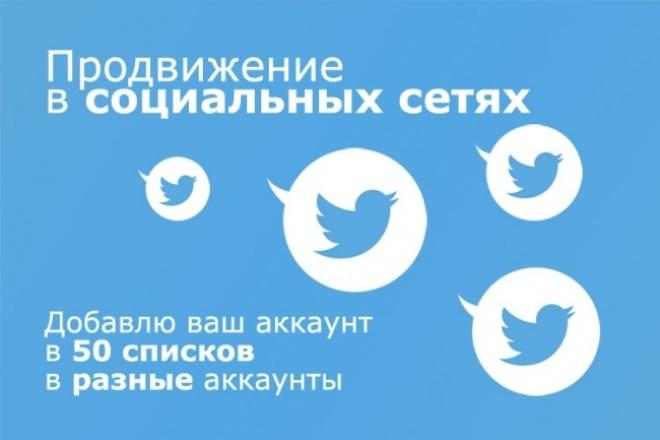 Добавлю ваш аккаунт в Твиттер в 50 разных списков 1 - kwork.ru