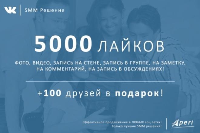 5000 лайков на любой объект вконтакте +100 друзей в подарок 1 - kwork.ru