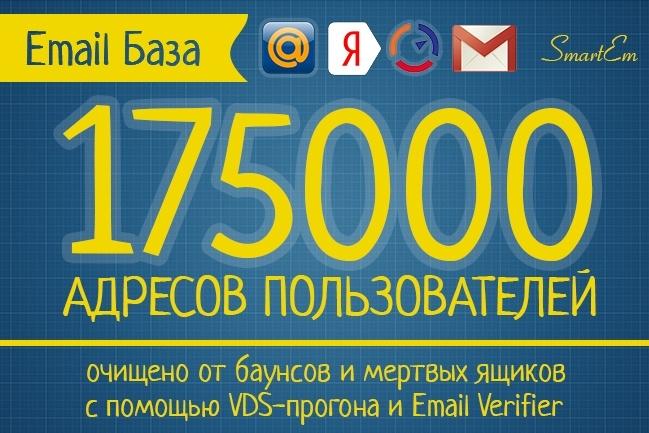 Очищенная база 175000 адресов без баунсов и не существующих email 1 - kwork.ru