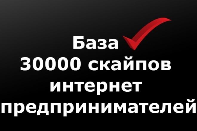 База 30000 скайпов интернет предпринимателей 1 - kwork.ru