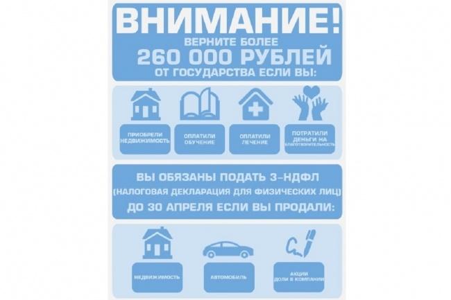 Заполнение налоговой декларации 3-НДФЛ 1 - kwork.ru