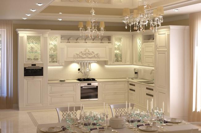 Визуализация кухниМебель и дизайн интерьера<br>Сделаю 3Д-визуализацию кухонной мебели по вашему наброску или текстовому описанию. Классический и современный стиль.<br>