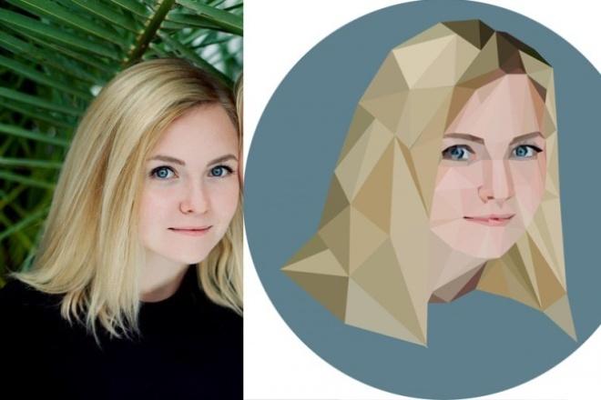 Сдоздам портрет в полигональном стилеИллюстрации и рисунки<br>Здравствуйте! Меня зовут Анна и я дизайнер-иллюстратор. Создам портрет-иллюстрацию по фотографии . В стоимость входит создание одной векторной иллюстрации и 3 бесплатные правки. Вы получите картинку в формате jpg для интернета и файл pdf, что бы иметь возможность распечатать файл в любом размере. Перед заказом необходимо предоставить фотографию, а лучше 2-3 шт, т.к. качество фотографий может отличаться. Иллюстрация создается вручную, поэтому чем лучше качество - тем детальнее иллюстрация. Так же, по желанию, можно добавить контуры или фигуры предметов, отображающих хобби, род занятия человека с фото, а так же добавить надпись. Срок выполнения от 2х до 3х рабочих дней.<br>