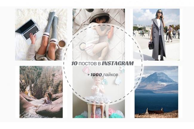 сделаю 10 постов фото в Instagram c более 100 лайками каждый 1 - kwork.ru