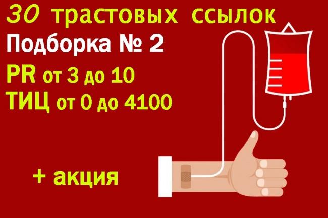 30 весовых ссылок - Подборка 2 - PR от 3 до 10 - ТИЦ от 0 до 4100Ссылки<br>Подборка трастовых ссылок №2 Данный кворк является продолжением кворка по ссылке http://kwork.ru/links/166621/31-trastovaya-ssylka-podborka-1-pr-ot-3-do-10-tits-ot-0-do-610000 в котором больше информации. Детальные показатели всех сайтов по ссылке (обратите внимание на вкладки в низу файла) http://docs.google.com/spreadsheets/d/1LXleMpgZbqNYw-8IBscSVkEP87DBAevx2VcDvIwVAYg/ + действует акция В дополнительных функциях кворка вы можете заказать все 5 кворков за ценой четырех. Что позволит вам купить 131 ссылку с 131 действительно качественных доменов всего за 2000 рублей - это нереально маленькая цена! По этому советую поспешить, пока я не передумал :) В итоге вы получаете детальный отчет со всеми ссылками.<br>