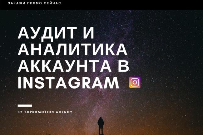 Аудит и аналитика Instagram аккаунтаПродвижение в социальных сетях<br>Опытный инста-блоггер с опытом работы в брендинговом агентстве проведёт анализ и аудит вашего аккаунта в Instagram. Что вы получите, заказав аудит аккаунта у меня? 1. Анализ текстового контента 2. Анализ фотоконтента 3. Анализ уровня вовлеченности аудитории 4. Анализ подписчиков 5. Анализ эффективности использования инструментов продвижения Вы хотите проанализировать свой аккаунт или аккаунт вашего конкурента? Хотите узнать свои ошибки в ведении аккаунта и сильные стороны? Закажите кворк и отправьте ссылку за нужный аккаунт. Дальше дело за мной! Анализ и аудит включает в себя множество различных функций: пол подписчиков, количество ботов, активности, лучшее время для постинга, гео аудитории, тренды, интересы аккаунта, вовлеченность, отписки и многое другое!<br>