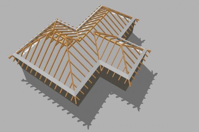 Визуализация стропильной системы кровлиИнжиниринг<br>Сделаю визуализацию стропильной системы здания со скатной кровлей. Вид кровли сверху, с человеческого роста.<br>
