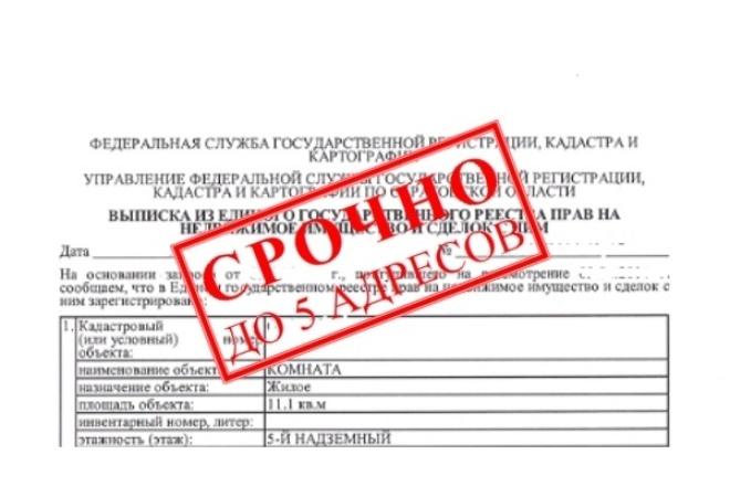 Выписка из ЕГРН по адресу или кадастровому номеру 1 - kwork.ru