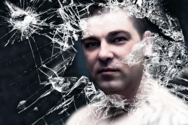на фото эффект битого стекла 1 - kwork.ru