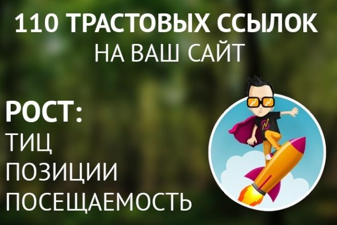 Прогон по 110 трастовым сайтамСсылки<br>Предлагаю Вам услугу по размещению ссылки на Ваш сайт на отдельных страницах пользователей, различных ресурсов с тИЦ от 20 ( более половины сайтов имеют тИЦ 50+ и около 40% тИЦ 100+ ), около половины сайтов присутствуют в ЯК, форумы и DLE сайты в базе отсутствуют. Страница пользователя может выглядеть примерно так http://www.omskmap.ru/users/view/saktofad77 (отличается взависимости от сайта) . После прогона я предоставлю Вам текстовый документ, в котором будут содержаться ссылки на все зарегистрированные страницы пользователей, в качестве отчета о выполненном размещении. Такой прогон будет хорошим подспорьем для недавно созданных сайтов и хорошим увеличением ссылочной массы, для сайтов, над которыми уже ведется работа по поисковому продвижению ( на некоторых прогнанных мною сайтах, наблюдался рост позиций и посещаемости, были случаи роста тИЦ ). Прогон будет полезным инструментом не только для специалистов по продвижению сайтов, но и может быть самостоятельно применен владельцем продвигаемого сайта, как дополнительная мера по его раскрутке. Если вам, что-то не понятно и возникают вопросы, при заказе обязательно пишите в личку, на все вопросы отвечу.<br>