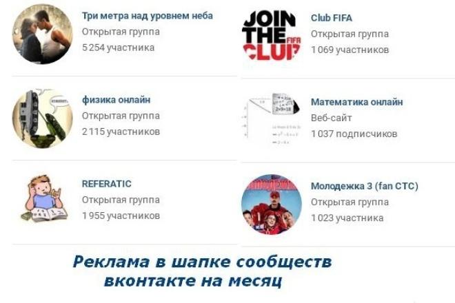 Размещу баннер в сообществах вкПродвижение в социальных сетях<br>Размещу ваш баннер в 6 группах вконтакте (подписчиков: 5000+2000+1900+3х1000; охват от 10 до 100 ежедневно) вк в шапке сообщества на месяц.<br>