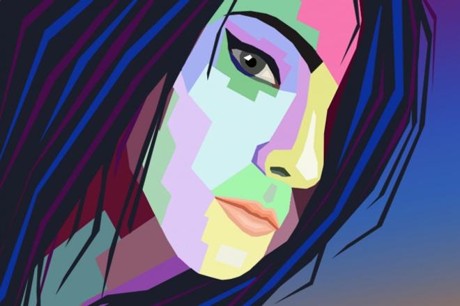 Стилизованный портрет по фото (wpap, поп арт, полигональный) 1 - kwork.ru