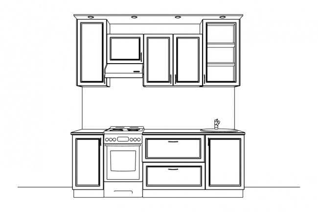 Мебель - черно-белые изображения комплектов мебелиИллюстрации и рисунки<br>Сделаю черно-белые, контурные изображения комплектов модульной мебели для сайта, магазина, прайса. Кухни, прихожие гостиные и пр. Также возможны изображения с габаритными размерами. Изображения отдельных элементов - см. связанные кворки.<br>