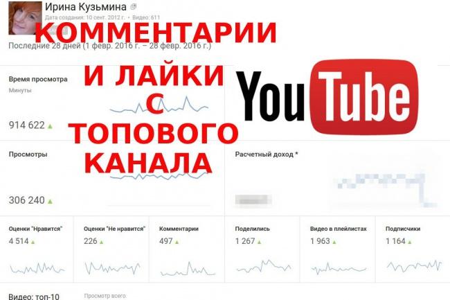 Напишу 20 комментариев и лайков с топового канала на ютубе youtube 1 - kwork.ru