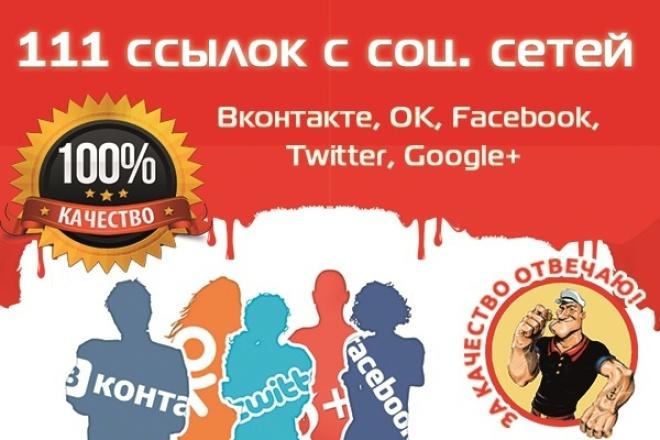 111 ссылок с соц. сетей  Вконтакте ОК, Facebook, Twitte, Google+ 1 - kwork.ru
