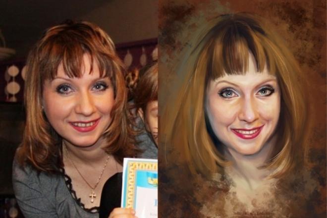 Нарисую ваш портрет в цвете в графическом редакторе с фотоИллюстрации и рисунки<br>Могу нарисовать ваш портрет, глядя на фотографию. Работа выполняется в графическом редакторе с нуля. В цвете.<br>
