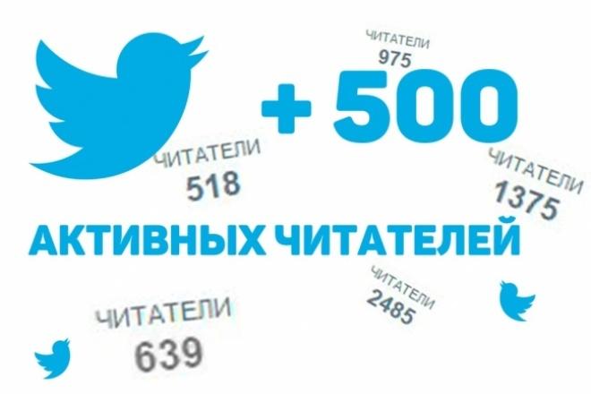 Подписчики в Твиттер. Добавлю 500 активных читателейПродвижение в социальных сетях<br>Хотите быстро прокачать ваш Twitter аккаунт? Тогда заказывайте этот кворк! На ваш аккаунт в Твиттер сразу же начнут подписываться новые участники этой великолепной и динамичной социальной сети. Вашими подписчиками в Твиттер станут 500 новых, активных людей! Я советую заказывать сразу 2 кворка , чтобы подписчиков было более 1000 ! Почему? 1. При заказе 2-х кворков я сделаю дополнительно +10% подписчиков. Итого их будет 1100 человек в вашем Twitter. 2. Психологический барьер для новых подписчиков - есть примерно 1000 подписок. Для людей это означает, что этот аккаунт интересен и на него точно стоит подписаться. Для кого? ? Хорошо для новых аккаунтов в Twitter ? Плавное увеличение числа подписчиков ? Только люди, никаких ботов ? Быстро (за 1-2 дня) ? Никаких санкций от социальной сети Твиттер ? Гарантия качества работы Что потребуется? От вас потребуется только имя аккаунта в Твиттер! Внимание! Так как подписчики - это обычные люди, то они могут отписаться в будущем. Это происходит крайне редко и число отписавшихся в Twitter, как правило, не превышает 5%!<br>