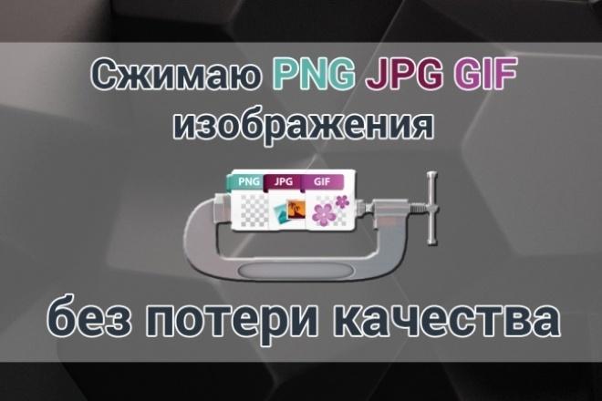 Сжатие PNG JPG GIF изображенийОбработка изображений<br>Готов сжать без потери качества, на выбор 200 изображений формата PNG, JPG или GIF (можно смешано) Максимальный срок исполнения 24 часа Выполню качественно и максимально быстро<br>