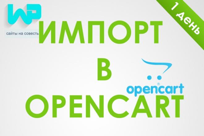 импорт товаров в Opencart 1 - kwork.ru
