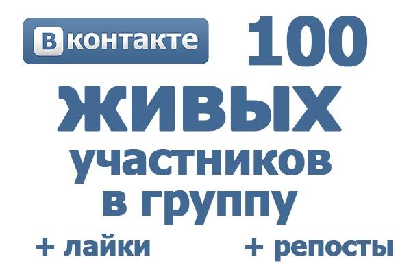 100 живых участников в группу ВК. Активность в группе: лайки, репосты 1 - kwork.ru