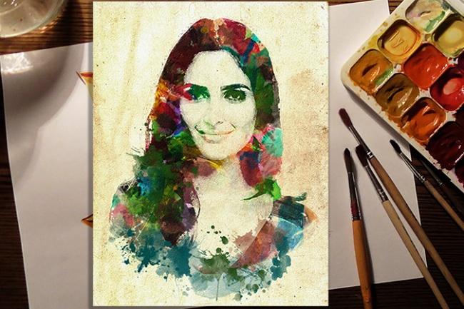 Создам цифровой акварельный портрет по фото  в стиле Гранж 1 - kwork.ru