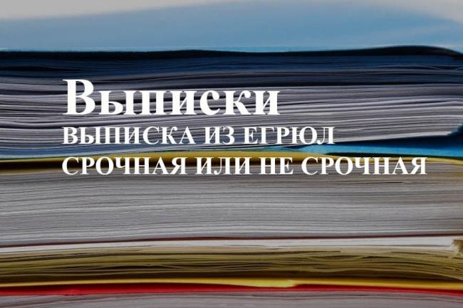 Срочная выписка из ЕГРЮЛ, ЕГРИП 1 - kwork.ru