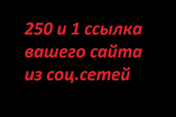 250 и 1 ссылка из социальных сетей 1 - kwork.ru