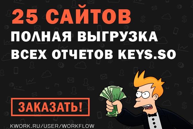 Keys.so: 25 сайтов (все отчеты) выгрузка всех ключей конкурентов 1 - kwork.ru