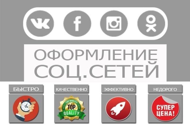 Профессиональное оформление групп в соцсетях. Контакт, Фейсбук и т.дДизайн групп в соцсетях<br>Профессиональное оформление вашей группы или странички в соц.сетях(Вконтакте, Фейсбук, Одноклассники, Инстаграм). 1. Дизайн основного баннера. 2. Дизайн аватарки. 3. Дизайн рекламных постов. 4. Разработка wiki-меню Вконтакте любой сложности. 5. Комплексное оформление и модернизация группы Вконтакте. 6. Разработка рекламной концепции сообщества. 8. Создание группы Вконтакте под ключ. 9. Создание группы-магазина Вконтакте под ключ. В стоимость 1 кворка входит разработка и прорисовка 2 элементов (баннер + аватар). Примеры комплексного оформления групп: - http://vk.com/handyplay - http://vk.com/dostavka_sushi_v_ivanteevke - http://vk.com/vk_onlineshop - http://vk.com/internet_magazin_podarkovdarilka Примеры оформления баннера и аватара: - http://vk.com/amurfarma - http://vk.com/the_men_journal Мы работаем для вас, максимально качественно и быстро. Остальные цены в доп. услугах. Надеемся на приятное сотрудничество с вами.<br>