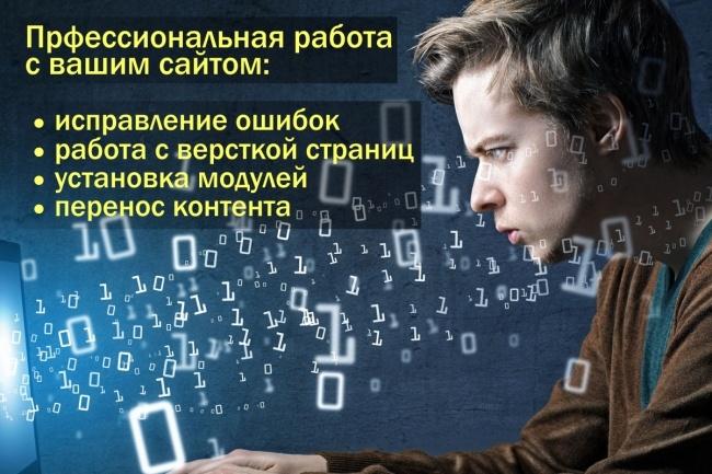 Администратор-программист вашего сайта. Доработки. УстановкиДоработка сайтов<br>Если у вас часто возникает необходимость в работе над сайтом: а это может быть исправление ошибок, правка верстки, установка дополнительных модулей, перенос контента с одного сайта на другой. Модерация и публикация данных - этот кворк точно вам пригодится. Установка он-лайн чата на сайт (JivoSite и др. ), систем комментирования (HyperComments, Cackle и др. ) Имею опыт работы со многими популярными системами управления контентом. Опыт работы более 7-ми лет.<br>